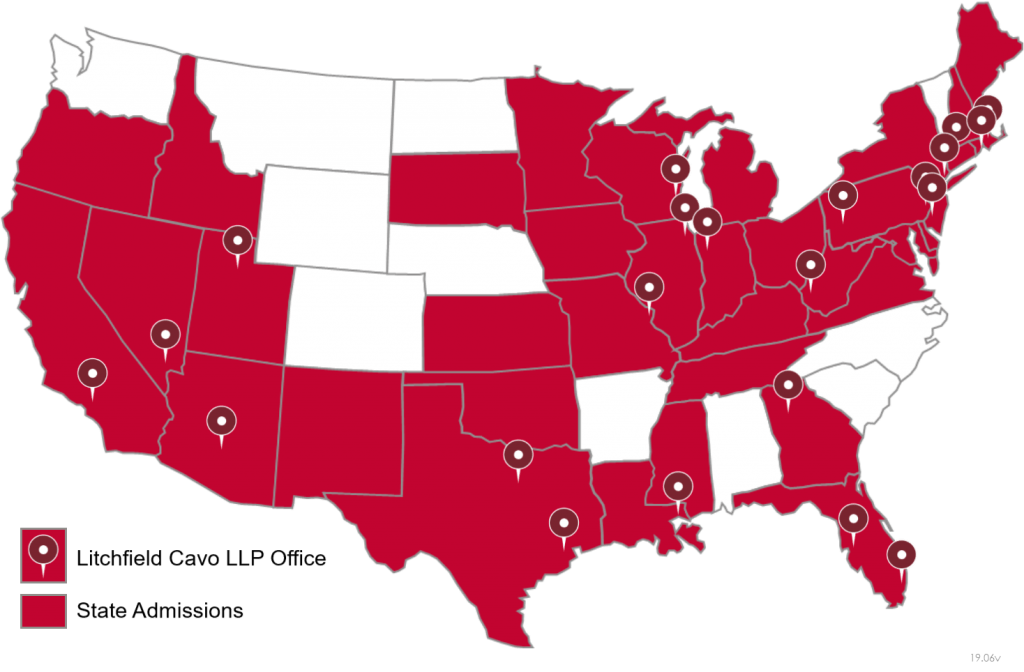 A map of the United States showing Litchfield Cavo office locations and state admissions